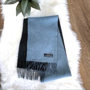 100% PURE CASHMERE Two Tone Gray And Blue Scarf